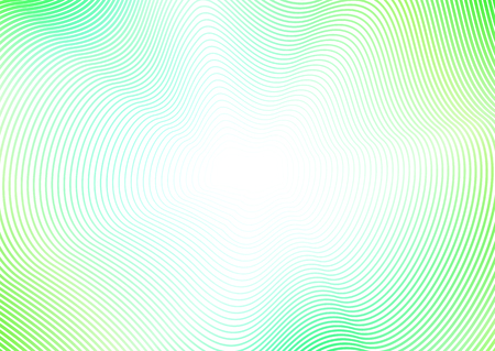 Abstract background with flash effect. Green waves, line art pattern. Design concept of perspective and infinity. Vector colored waving frame with copy space