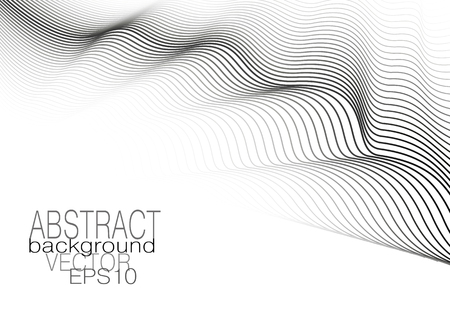 Black waves on a white background. Monochrome vector line art pattern. Striped creative design, squiggle lines. Modern technology cover layout. Abstract template for leaflet, flyer, book, poster, presentation. EPS10 illustration