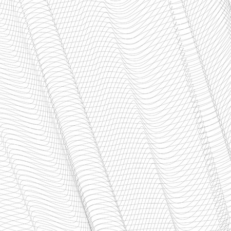 Gray striped openwork background. Vector abstract pleated network. Technology ripple thin lines, subtle curves. Monochrome line art pattern, textile, net, mesh textured effect. EPS10 illustration Stock Vector - 115580110
