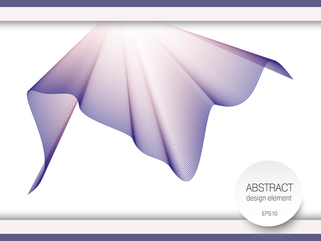 Waving colorful scarf. Cloth drapery imitation. Vector textile pattern in purple, pale pink hues. White background. Line art design element, silk texture. Abstract ripple subtle curves. Modern horizontal template. EPS10 illustration Vector Illustratie