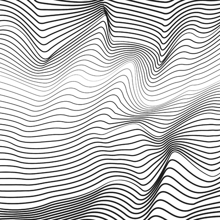 Abstract black and white background. Vector squiggle, broken subtle lines. Optical illusion, deformed surface. Chaotic striped, waving pattern, simple waveforms. Technology line art design. EPS10 illustration