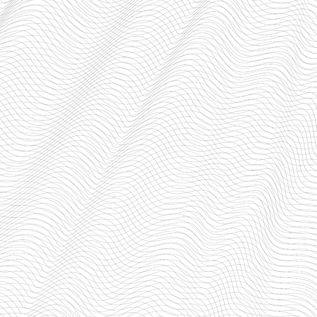 Abstract gray net. Line art design, textile, network, mesh texture. Undulating subtle lines, squiggle thin curves. Vector monochrome tangled pattern. White background. EPS10 illustration