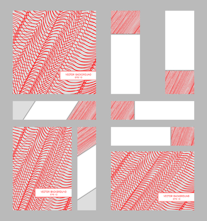 Set of A4 and square cover templates. Six different banners. Modern layouts for brochure, poster, flyer, leaflet, presentation. Vector gray background with red mesh. Line art pattern for corporate style Illustration