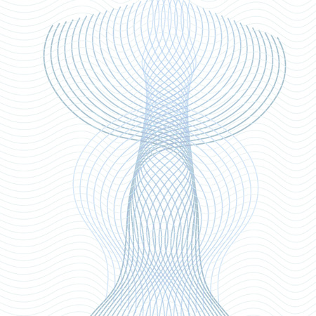 Technology geometrical round pattern. Line art vertical ornament. Symmetric guilloche design element. Abstract vector background with blue and gray waving lines. Squiggle warp curves. EPS10 illustration Stock Illustratie