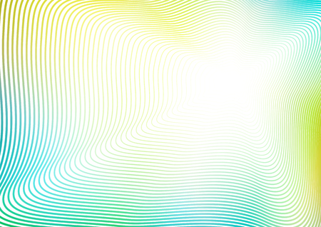Blue, yellow, green line art pattern. Abstract striped background with flash effect. Vector vibrant colorful waving frame design. White copy space. Waving subtle curves, perspective illusion. EPS10 illustration Ilustrace