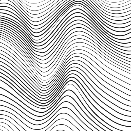 Black squiggle lines on a white background. Monochrome op art design. Vector simple pattern. Tech concept, thin curves, subtle lines. Abstract digital graphic, deformed surface. EPS10 illustration
