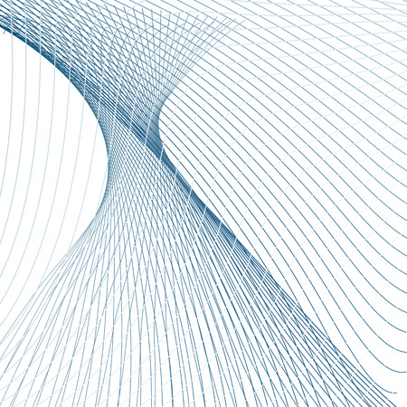 Technology textured background. Hyperboloid shape with 3d effect. Subtle warp dark and light blue curves. Futuristic line art design. Abstract vector sci-tech pattern. EPS10 illustration