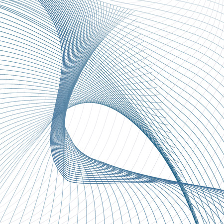 Technology line art pattern, loopable shape. Blue subtle curves. Bent lines. White background. Futuristic abstract design. Modern template for science concept. EPS10 illustration
