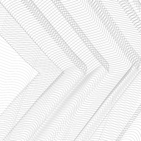 Geometrical background. Thin gray net draped in the form of angles. Striped pattern. Vector abstract pleated network. Technology ripple subtle curves. Monochrome line art design, textile, net, mesh te  イラスト・ベクター素材