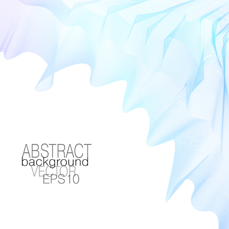 Flowing silk scarf. Light blue, purple gradient. Abstract pattern. Art line background. Squiggle colored curves. Vector template for cover, invitation, poster, leaflet, flyer, portfolio, brochure. EPS  イラスト・ベクター素材