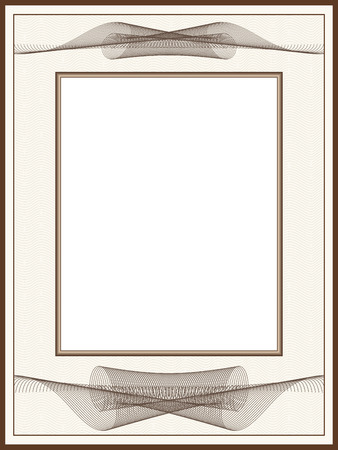 Vintage picture frame, passe-partout. Retro border with guilloche patern. Vector abstract beige background. Template for certificate, diploma, invitation. White space for text. EPS10 illustration
