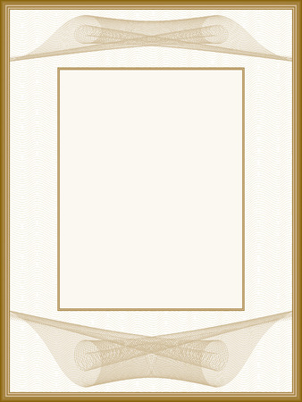 Pastel vintage picture frame, passe-partout. Retro border with guilloche patern. Vector abstract background. Template for certificate, diploma, invitation. Beige space for text. EPS10 illustration