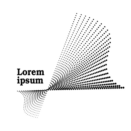 Abstract black icon. Logo dotted wave template. Squiggle spotted lines. Vector halftone pattern. Monochrome design. Digital graphic. Tech concept. White background  イラスト・ベクター素材