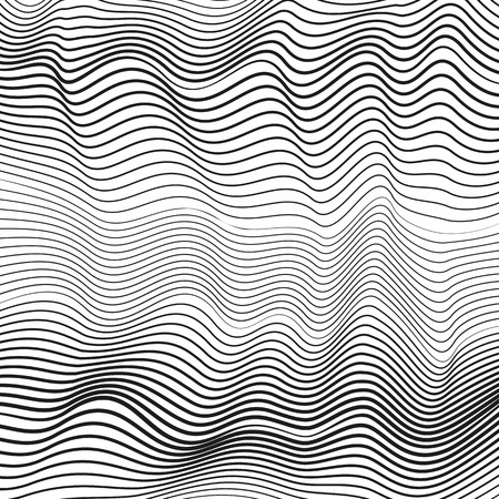 Black and white dynamic waves. Creative subtle curves. Undulating thin lines. Vector monochrome fluid pattern. Abstract op art design. Tech modern background, ripple surface. EPS10 illustration