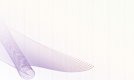 Swirl pattern in purple, beige tones. Elegant watermark design. Guilloche art line template. Abstract vector multicolor composition, copy space. Squiggle thin lines. White background. EPS10 illustrati