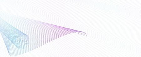 Swirl pattern on squiggle thin lines. Abstract vector multicolor watermark. Guilloche art line design, purple, turquoise gradient. Technology elegant composition, copy space. White background. EPS10 i