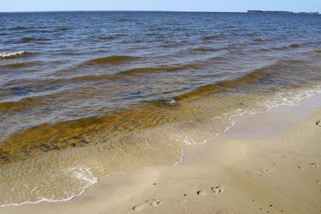 Rybinsk reservoir. Summer seascape with ripple waters. Yaroslavl region, Russia 写真素材
