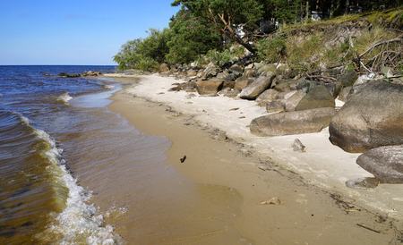 The sandy beach of Rybinsk reservoir with trees and large stones. Summer seascape with bowlders on the coastline. Yaroslavl region, Russia 写真素材
