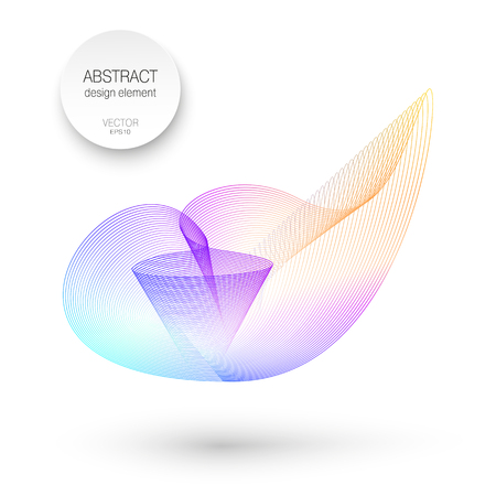 Roundish abstract shape. Purple, blue, teal, magenta, orange gradient. Line art design. Vector multicolored pattern. Isolated element. 3D-effect. White background. EPS10 illustration