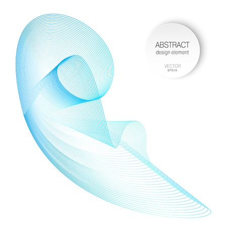Light blue roundish shape, abstract swirl pattern. Vector line art design. Isolated wavy element. Soft gradient, waving shiny curves. 3D-effect. White background. EPS10 illustration