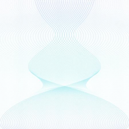Motif guilloché bleu clair et turquoise. Forme symétrique, courbes entrecroisées. Ondulation des lignes subtiles. Abstrait de vecteur. Modèle pour filigrane, argent, billet de banque, diplôme, certificat. Illustration EPS10