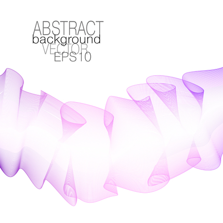 Ruched pink ribbon, silk scarf. Colored line art pattern. Vector squiggle glowing curves. Flowing textured design element. White background. Abstract modern template for creative concepts. EPS10 illus  イラスト・ベクター素材
