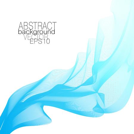 Light blue, turquoise flowing veil. Elegant abstract waveform. Line art vector design element, waving glowing curves. Wave pattern. White background. Template for invitation, leaflet, flyer, poster. E