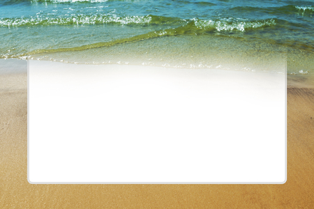 Mock up template with turquoise sea wave, beach sand. Large white text box. Summer background. Travel concept. Touristic poster with natural border, album page for scrapbooking