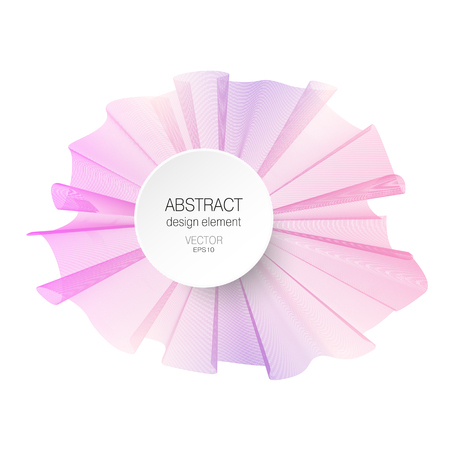 Pink, purple abstract design element. Ruched bow imitation. Vector line art pattern on white background. Multicolored pleated ribbon, silk scarf. Waving decor for templates, layouts, banners, flyers,