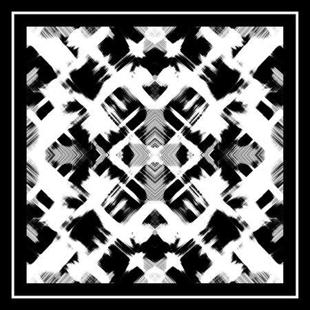 Shawl, bandana design. Black brush strokes on a white background. Symmetric abstract pattern. Kaleidoscope effect, mirror reflection. Monochrome grunge texture 写真素材