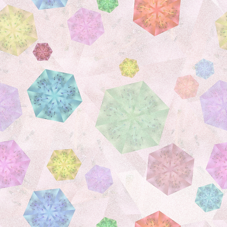 Seamless pattern with multicolored chaotic hexagons on the pale pink background. Sexangular design elements macro azalea with kaleidoscope effect