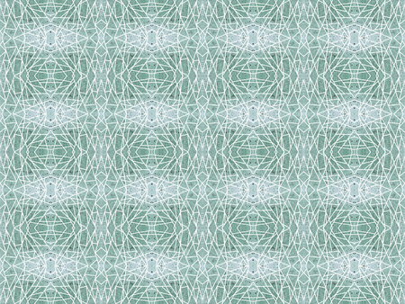 Green seamless pattern with white intersecting straight lines. Geometric grunge background with kaleidoscope effect. Abstract symmetric spiderweb imitation. For modern technology design of wrapping pa
