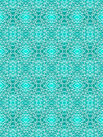 Turquoise seamless pattern with white intersecting straight lines. Geometric grunge background with kaleidoscope effect. Abstract symmetric spiderweb imitation. For modern technology design of wrappin