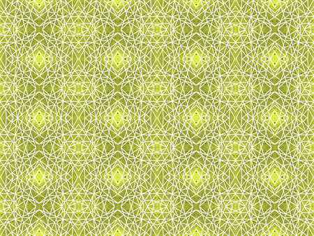Geometric seamless pattern gold, yellow. White intersecting straight lines. Grunge background with kaleidoscope effect. Abstract symmetric spiderweb imitation. Modern ethnic design for wallpaper, wrap