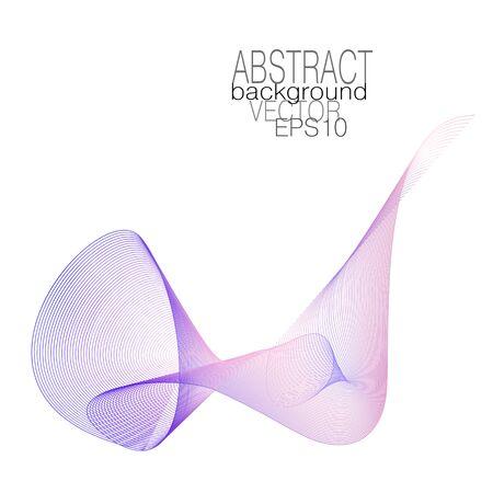 Light pink, violet curled waveform. Vector wave pattern. Line art colored design element. Swirled elegant shape. Waving flowing silk scarf. Abstract subtle curves. White background. EPS10 illustration  イラスト・ベクター素材