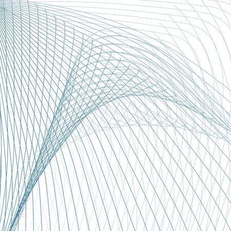Abstract warp intersecting curves. Line art technology design. Blue, gray grid pattern. White background. Subtle lines. Abstract vector sci-tech wallpaper. Power, electricity concept. EPS10 illustrati  イラスト・ベクター素材