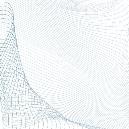 Vector squiggle, waving curves. Light blue, gray subtle lines. Sound, radio waves concept. Grid tech abstract pattern. Line art futuristic design. White background. Draped net. EPS10 illustration