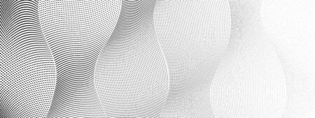 Digital halftone pattern. Black dotted squiggle vertical lines with gradient. Abstract technology background, textured surface. Radio waves concept. Monochrome vector op art design. EPS10 illustration 일러스트