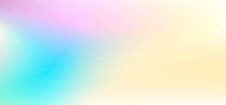 Abstract horizontal blurred background. Yellow, blue, pink, purple stains. Soft gradient. Modern design concept in pastel colors. Vector backdrop for web banners, flyers, leaflets. EPS 10 illustration Ilustração