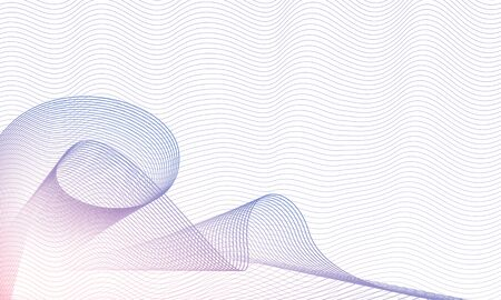 Swirl horizontal pattern on waving squiggle thin lines. White background. Abstract vector multicolor waves. Guilloche art line design, red, blue gradient. Technology elegant composition, copy space. EPS10 illustration Çizim