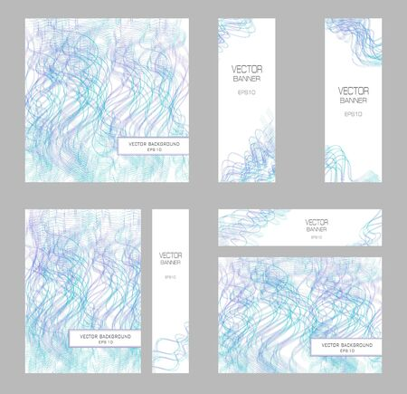 Brochure A4, square templates, 4 banners. Purple, teal tangled squiggly lines. Elegant layouts for cover, poster, flyer, leaflet. Vector colored background. Line art pattern, abstract design. Illustration