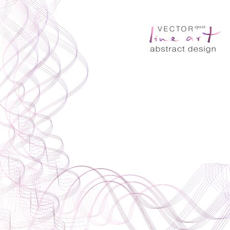 Purple, bordo, pink wavy lines forming a corner. Thin squiggly tangled curves. Abstract pattern. White background. Modern design for brochure, poster, leaflet, flyer. Vector template with copy space. EPS10 illustration