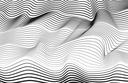 Abstract monochrome line art design. Black squiggle curves, white background. Vector technology striped pattern. Radio, sound waves concept. Modern optical illusion. Textured surface. Creative illustration Ilustracja