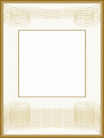 Vintage frame, passe-partout. Retro border with guilloche pattern. Golden squiggly lines. Vector abstract background. Template for certificate, diploma, invitation. White text box. Creative illustration