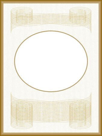 Elegant passe-partout, vintage frame. Golden border, guilloche pattern. Line art design. Vector abstract background. Retro template for certificate, diploma. Round white text box. Creative illustration