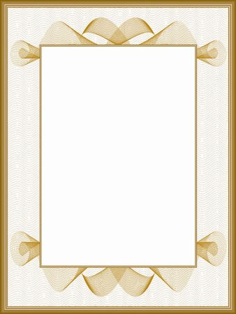 Retro vintage picture frame, passe-partout. Vintage border with golden guilloche pattern. Vector abstract background. Template for certificate, diploma, invitation. White text box. Creative illustration