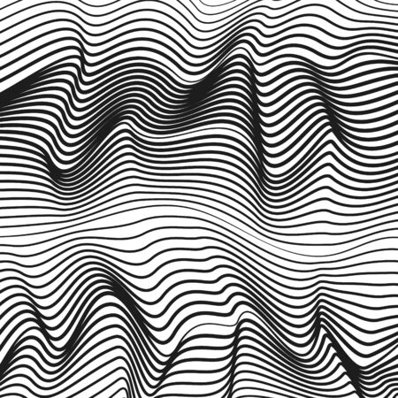 Black and white rippled surface. Vector squiggle, subtle curves. Abstract background. Monochrome waves. Striped waving pattern. Technology line art design. Optical illusion. EPS10 illustration Ilustração