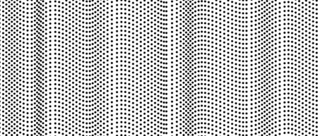 Black and white dotted background. Abstract halftone pattern. Squiggle spotted lines. Monochrome op art design. Vector airy waves. Modern digital graphic. Technology concept for banners, websites. Creative illustration