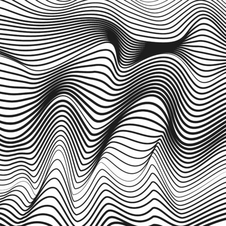Black and white techno pattern. Sound, radio waves. Line art design. Optical illusion. Vector squiggle thin curves. Deformed surface. Abstract monochrome background. Modern graphic. EPS10 illustration Ilustração