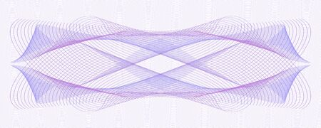 Purple, violet, lilac ornate for watermark. Symmetric pattern on ripple curves. Line art design. Vector abstract background. Template for cheque, ticket, banknote, voucher, diploma. EPS10 illustration 向量圖像